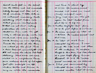 Pages from Frank Howcroft's Air Raid Diary January 1941