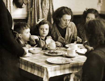 Air Raid victims being fed in emergency canteen