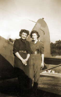 May (right) with friend Joan in Scotland