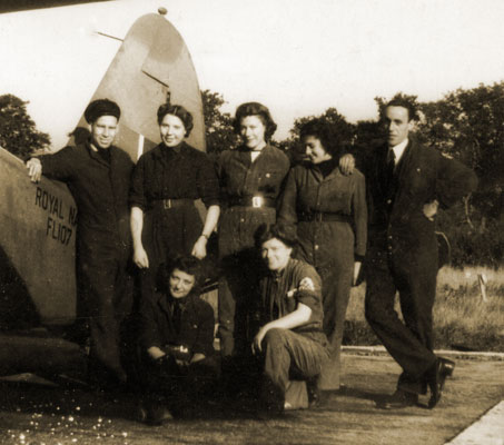 May (centre, standing) with airframe crew, Scotland