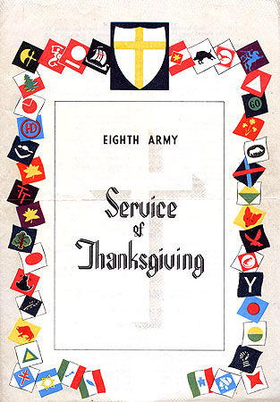 Service of Thanksgiving cover - 8th Army 1945