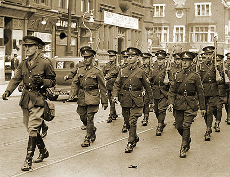 Bolton Artillery marching along Bradshawgate en route to trinity St Station summer 1939