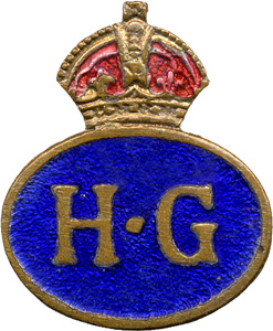 Enamel Home Guard lapel badge worn on civilian clothing