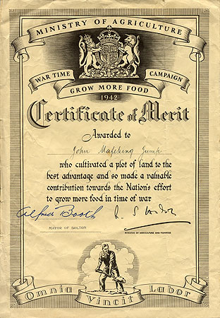 Certificate of Merit for growing food in Wartime