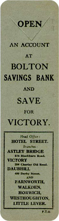 Bolton Savings Bank - Save For Victory bookmark
