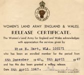Nellie's Release Certificate from The Land Army 1947